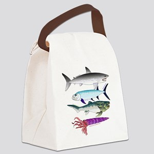 4 Extinct Sea Monsters Canvas Lunch Bag