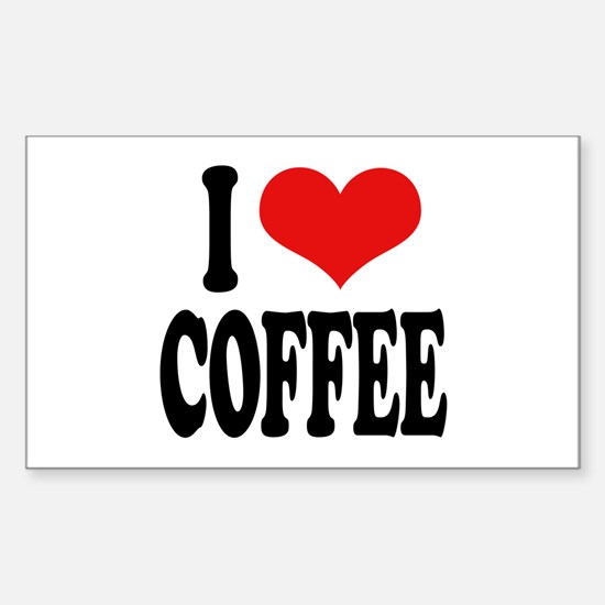 I Love Coffee Rectangle Decal