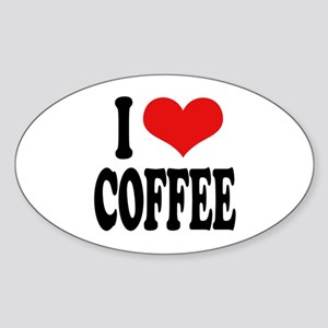 I Love Coffee Oval Sticker