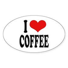 I Love Coffee Oval Sticker