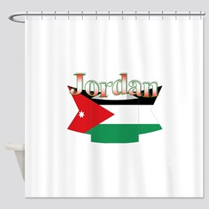 Ribbon Flag Of Jordan Shower Curtain