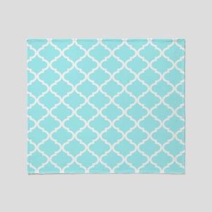 Sky Blue White Quatrefoil Pattern Throw Blanket