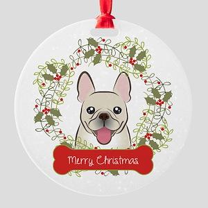 French Bulldog Christmas Wreath Round Ornament