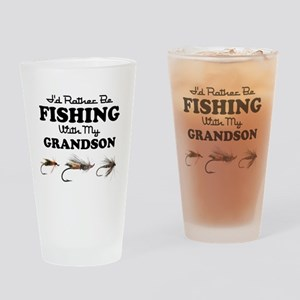 Rather Be Fishing Grandson Drinking Glass
