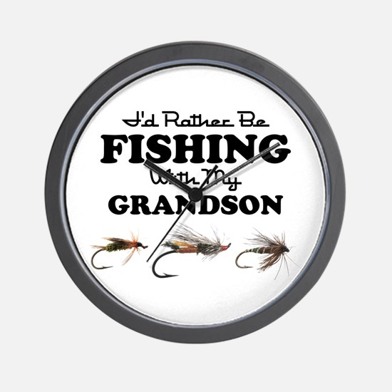Rather Be Fishing Grandson Wall Clock