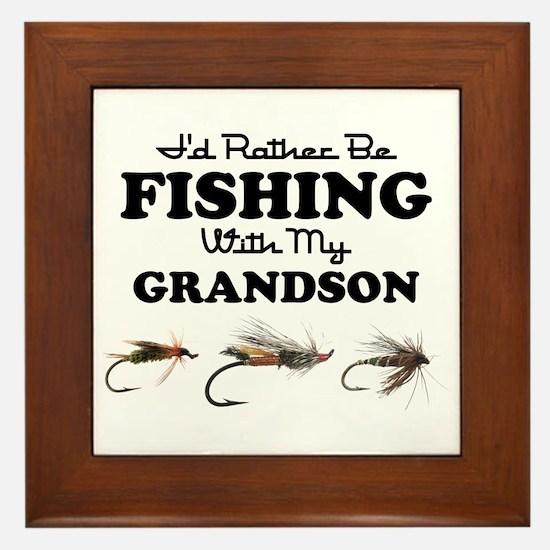 Rather Be Fishing Grandson Framed Tile