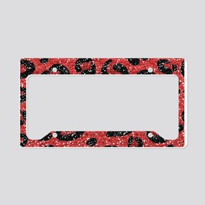 Red Black Leopard Print License Plate Holder