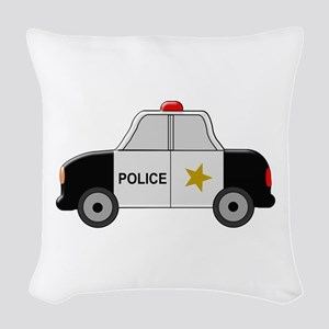 Police Car Woven Throw Pillow