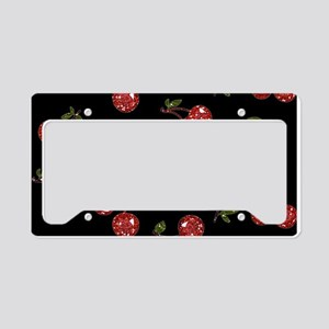 Very Cherry Cherries On Black License Plate Holder