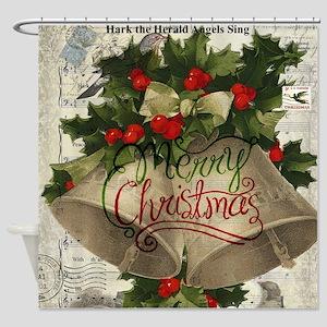 Merry Christmas vintage bells Shower Curtain