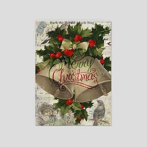 Merry Christmas vintage bells 5'x7'Area Rug