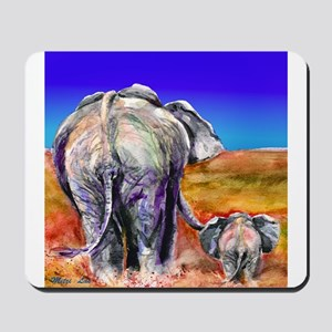 elephant mother and baby Mousepad