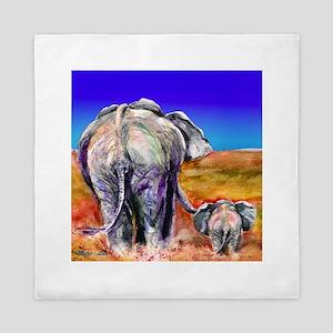 elephant mother and baby Queen Duvet