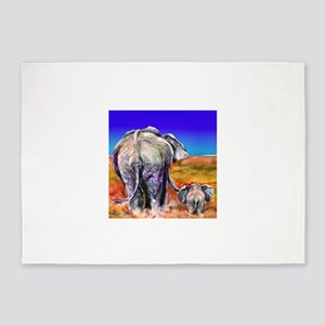 elephant mother and baby 5'x7'Area Rug
