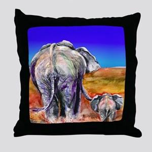 elephant mother and baby Throw Pillow