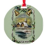 Winter Scene With Holly Round Ornament