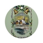 Winter Scene With Holly Ornament (round)