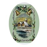 Winter Scene With Holly Ornament (Oval)