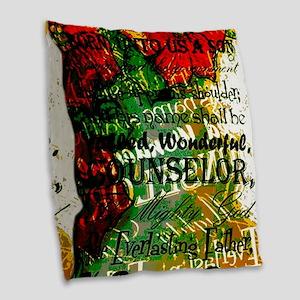 Unto to us a Child is born mod Burlap Throw Pillow