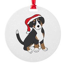 Santa Entlebucher Mountain Dog Round Ornament