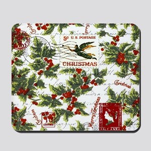 Vintage holly postage Mousepad