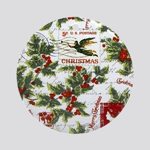 Vintage holly postage Ornament (Round)