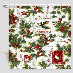 Vintage holly postage Shower Curtain