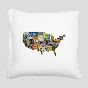america license Square Canvas Pillow