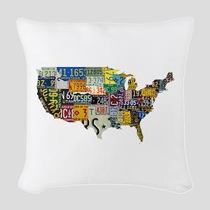 america license Woven Throw Pillow