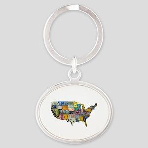 america license Oval Keychain
