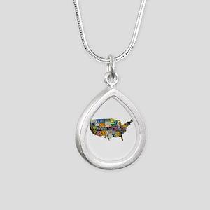 america license Silver Teardrop Necklace