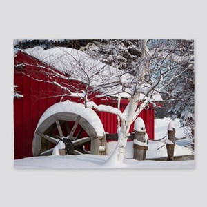 Snow Covered Wheelmill 5'x7'area Rug