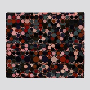 Black, Grey and Rust Retro Dots Throw Blanket