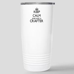 Keep calm and kiss a Cr Stainless Steel Travel Mug