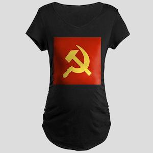 Red Hammer & Sickle Maternity Dark T-Shirt