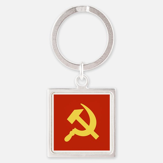 Red Hammer & Sickle Square Keychain