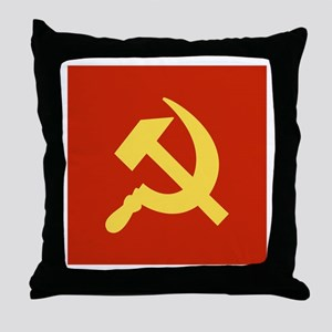 Red Hammer & Sickle Throw Pillow