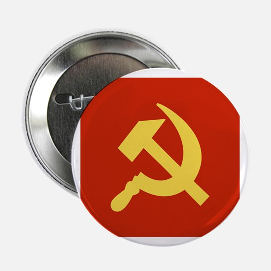 """Red Hammer & Sickle 2.25"""" Button (100 pack)"""