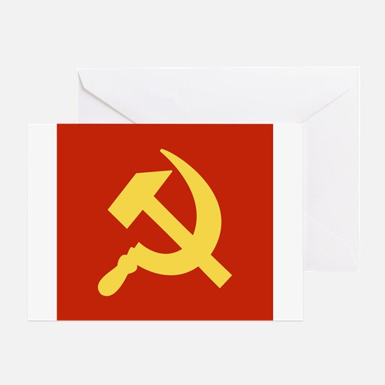 Red Hammer & Sickle Greeting Card