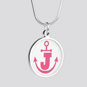 Cute Anchor Monogram J Silver Round Necklace
