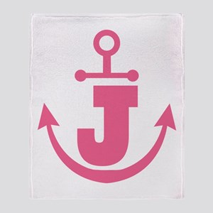 Cute Anchor Monogram J Throw Blanket
