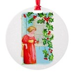 Yuletide Girl At Window Round Ornament