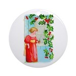 Yuletide Girl At Window Ornament (round)
