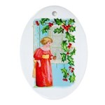 Yuletide Girl At Window Ornament (Oval)