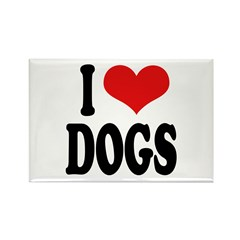 I Love Dogs (word) Rectangle Magnet (10 pack)