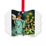 Angel And Christmas Tree Picture Ornament