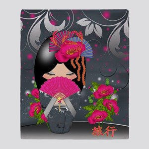 "Kokeshi Doll ""Journey"" Throw Blanket"
