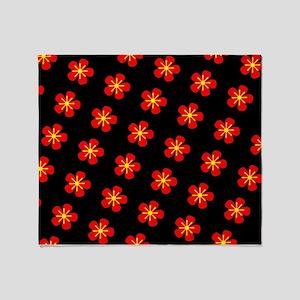 Hokkaido Red Floral Hana 25 Throw Blanket