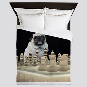 Sexy Pug Playing Chess Queen Duvet