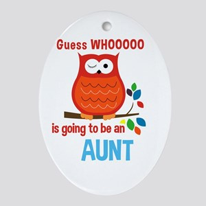 Bold Owl - New Aunt Ornament (Oval)